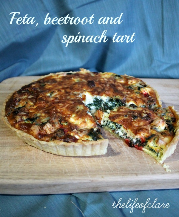 feta beetroot and spinach tart