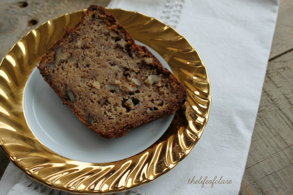 slice of banana and walnut loaf