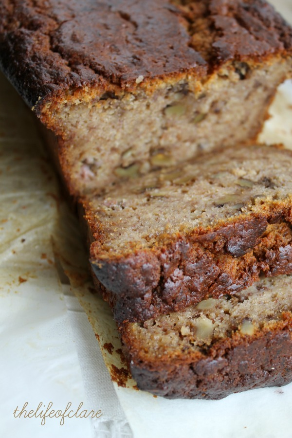sliced walnut and banana loaf