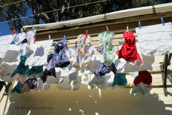 cloth nappies on the line