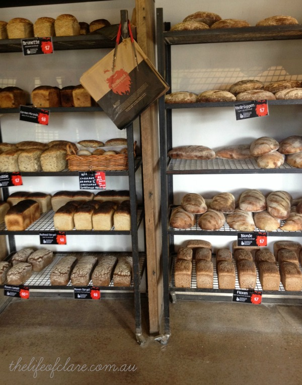 red beard bakery bread shelf