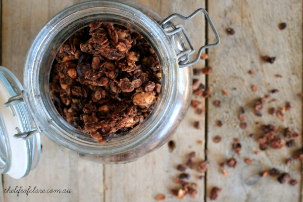 peanut butter and cocoa granola