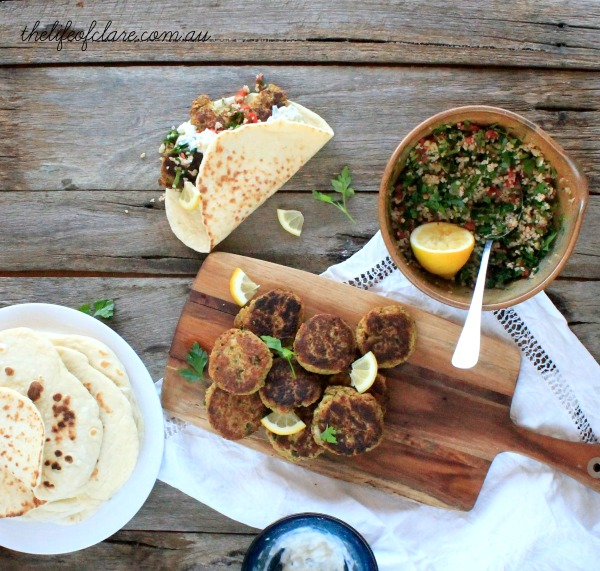 falafel and condiments
