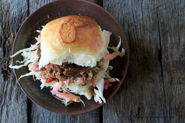 pulled beef and coleslaw slider