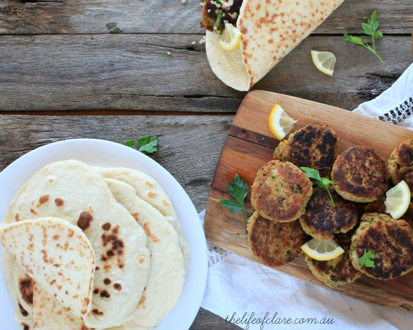 turkish bread and falafel