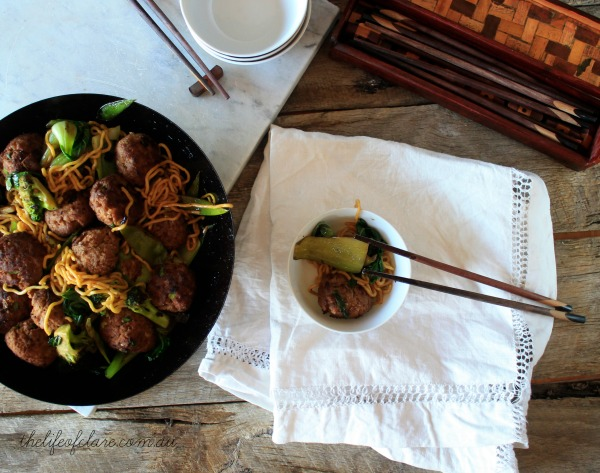 asian meatball stirfry